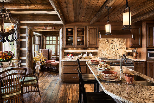 Log home kitchens rustic kitchen by expedition log homes for Log home kitchens gallery