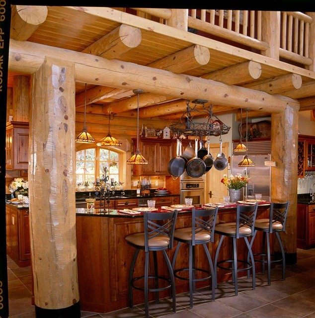 Log home kitchens rustic kitchen by hiawatha log homes for Log home kitchens gallery