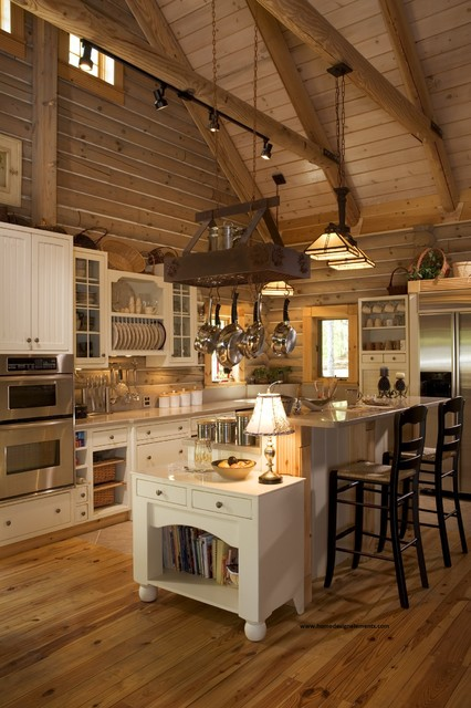Log home lavely traditional kitchen other metro for Log home kitchen designs