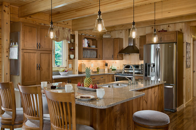Log homes cabins coventry log homes custom craftsman for Log home kitchen designs