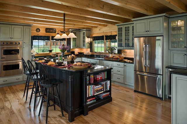 Delightful Log Homes U0026 Cabins   Coventry Log Homes   The Bear Rock Rustic Kitchen