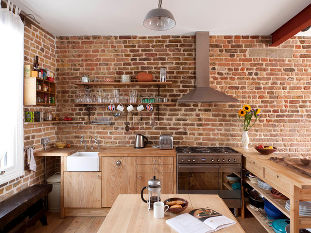 Kitchen   Contemporary Kitchen Idea In London With Wood Countertops, A  Farmhouse Sink, Flat