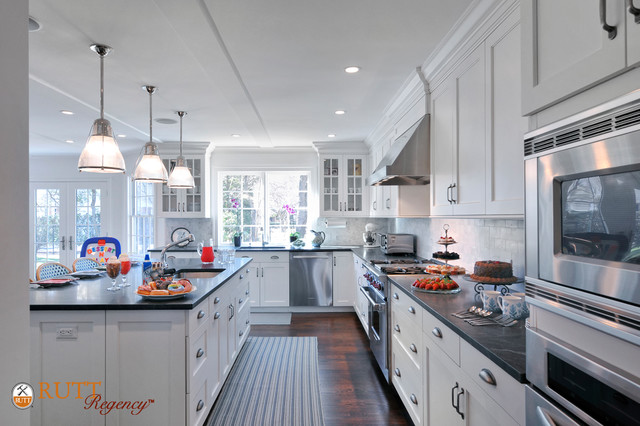 Long Island White Kitchen Featuring Rutt Regency Cabinetry Traditional Ki