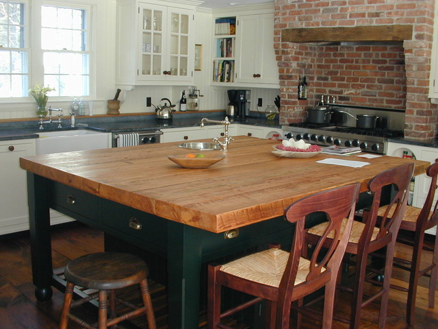 Longleaf Lumber Heart Pine Countertop Transitional Kitchen