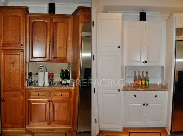 Kitchen Cabinet Refinishing San Francisco Los Altos Kitchen Reface (Painted wall cabinets, Stained island
