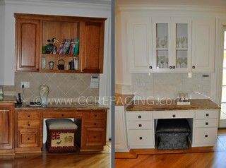 Los Altos Kitchen Reface (Painted wall cabinets, Stained island cabinet) - Traditional - Kitchen ...