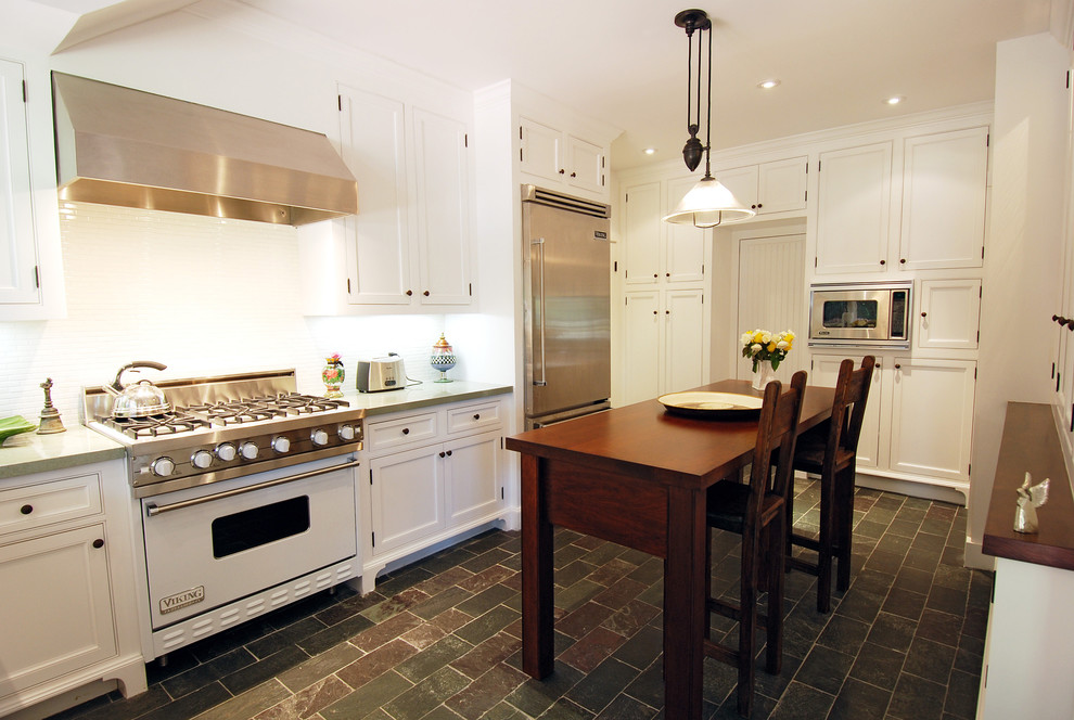 Farmhouse kitchen photo in Los Angeles with white appliances
