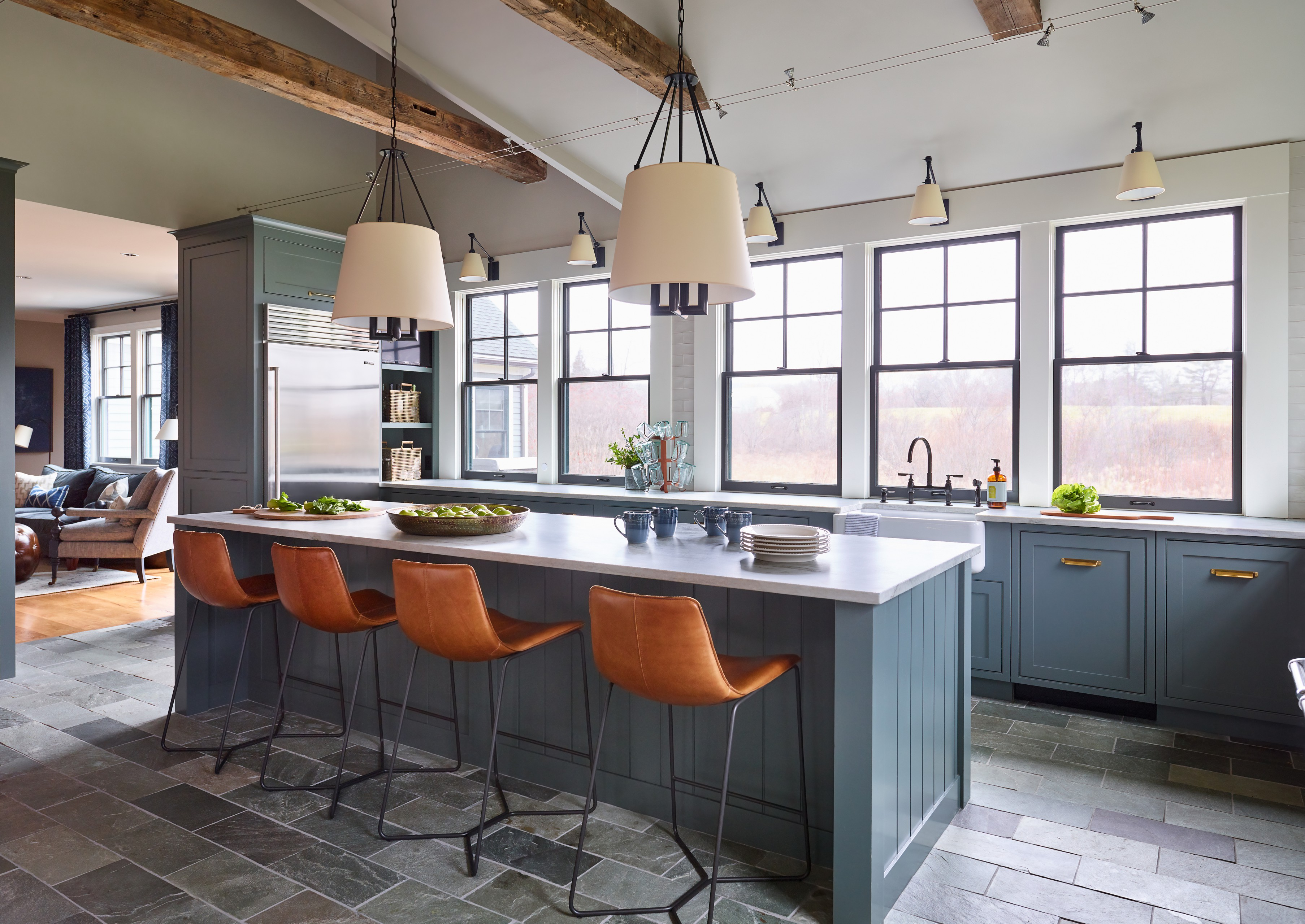 9 Beautiful Slate Floor Kitchen with Blue Cabinets Pictures ...