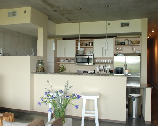 Half partition wall home design ideas pictures remodel for Opening up a galley kitchen