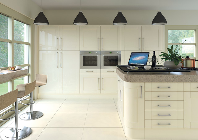 Ludlow Gloss Cream Contemporary Kitchen Manchester By Kree8