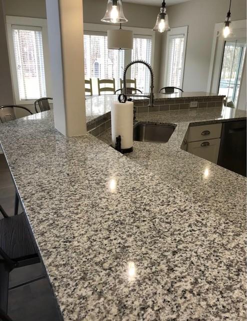 Luna Pearl Granite Kitchen Countertops Contemporary Kitchen Grand Rapids By Gomez Granite Countertops