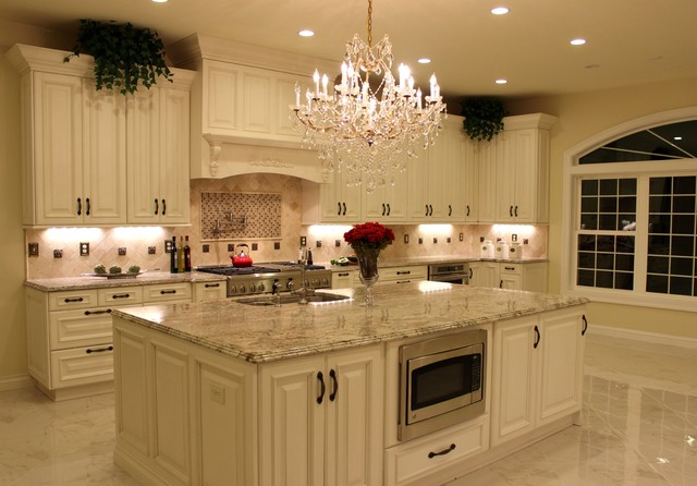 Luxurious Kitchen W Antique White Cabinetry Amp Sienna