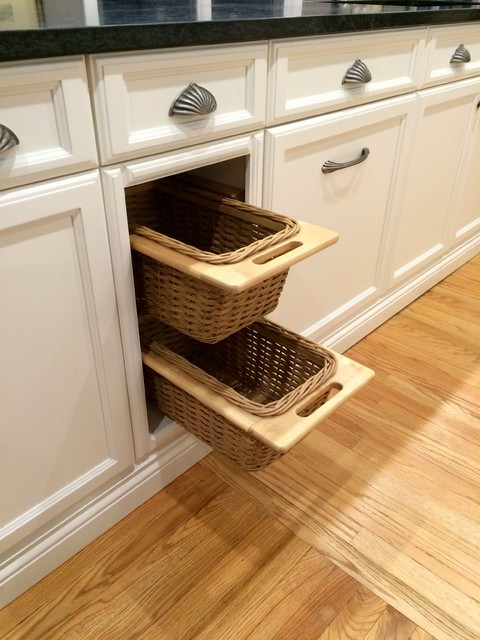 Transitional White Kitchen Pull out Wicker Basket ...