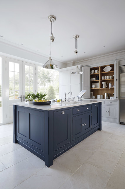 Inspiration For A Large Timeless Marble Floor Enclosed Kitchen Remodel In Manchester With Shaker Cabinets