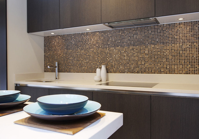 Luxury Kitchen Featuring Emperador Marble Mosaic Splash