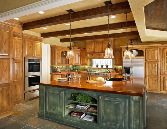 Merveilleux Kitchen   Rustic Kitchen Idea In Dallas With Stainless Steel Appliances,  Wood Countertops And Distressed