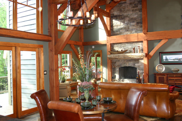 Luxury Timber Frame Mountain Home Eclectic Kitchen