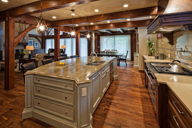 Luxury timber frame traditional kitchen vancouver for Luxury timber frame house plans