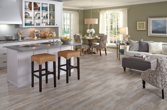 Luxury vinyl plank inspiration transitional kitchen for Kitchen floor inspiration