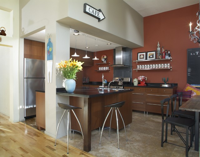 Eat In Kitchen Contemporary Idea Los Angeles With Flat