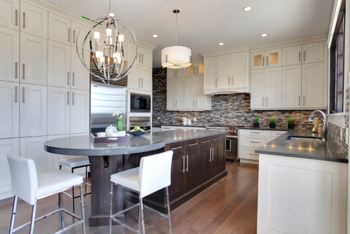 How wide is the island rectangular section and round end for Kitchen ideas no island