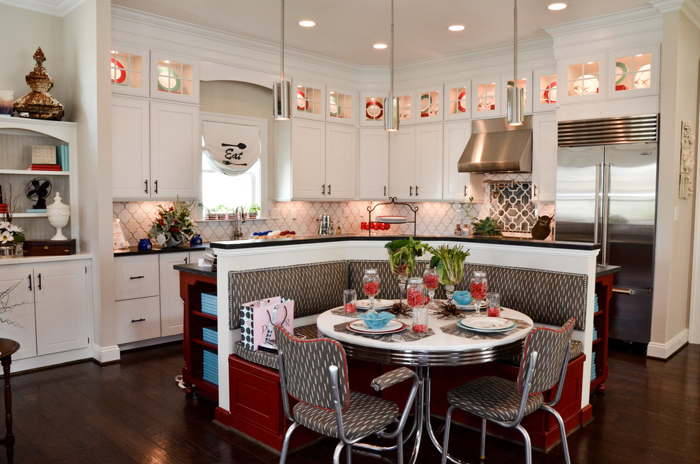 Elegant l-shaped eat-in kitchen photo in Richmond with recessed-panel cabinets, white cabinets and stainless steel appliances