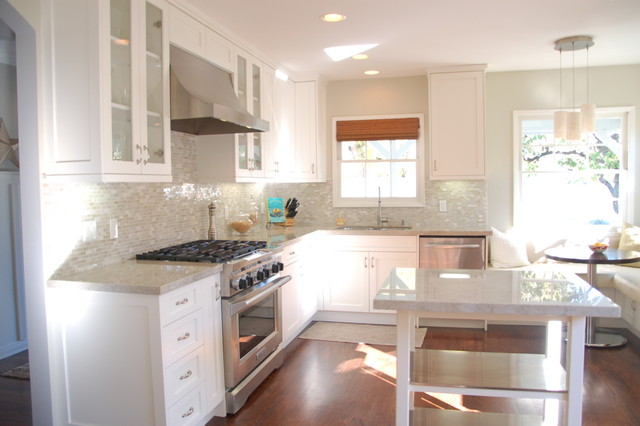 Madre Perla Kitchen with White Cabinets traditional-kitchen