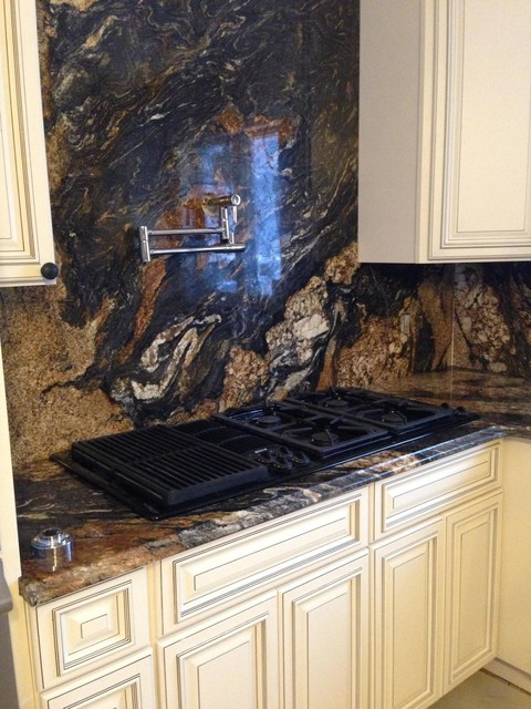 Magma Granite Countertop And Backsplash Contemporary