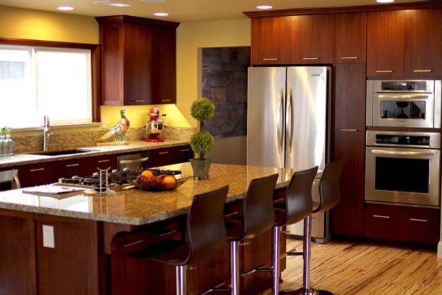 Dark Brown Kitchen Cabinets With Black Appliances