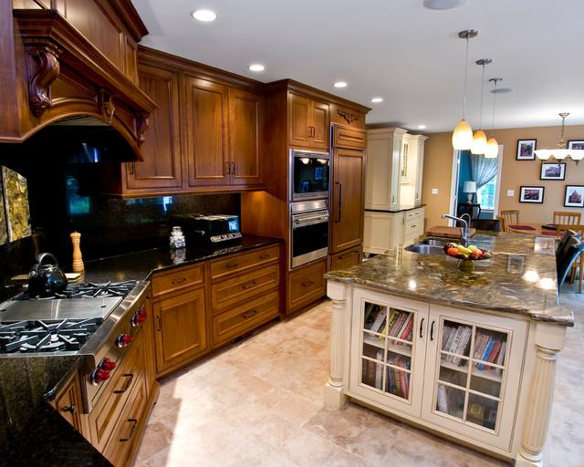 Mahogany Gourmet Kitchen With White Glazed Center Island