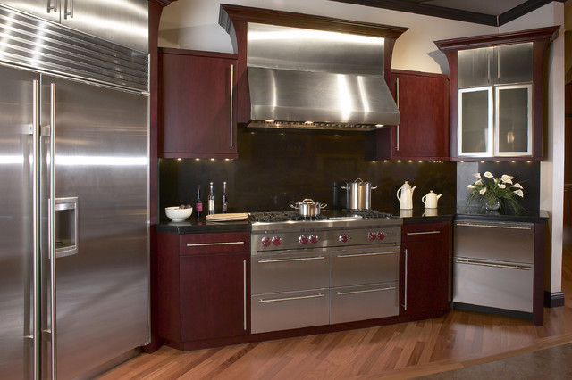 Mahogany Zodiac And Sub Zero Wolf Appliances Modern Kitchen