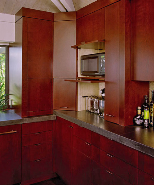 Japanese Kitchen Cabinets: Built-in Microwave & Oven Stacked On