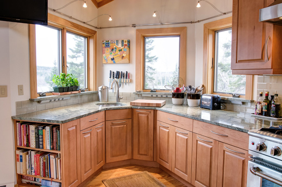 Maine Cabin Gets Clever Upgrade - Transitional - Kitchen ...