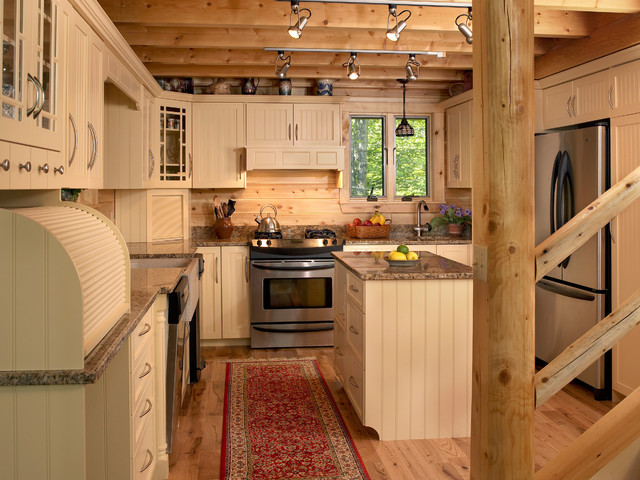 Maine lakeside retreat rustic kitchen portland maine for Cabin style kitchen cabinets
