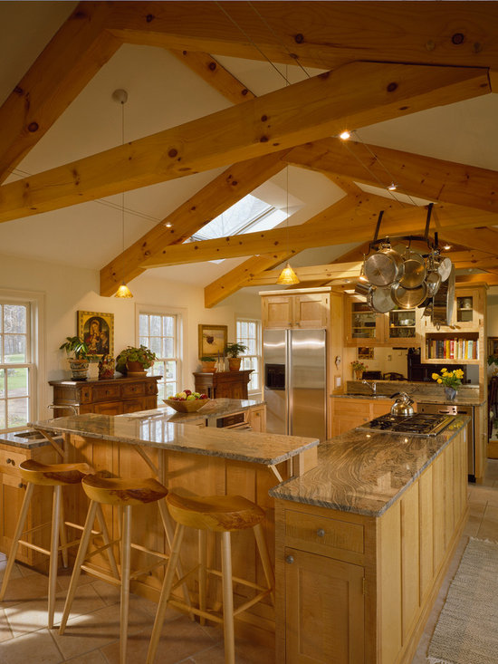 Pole barn house u shaped kitchen design ideas remodels for Post and beam kitchen ideas