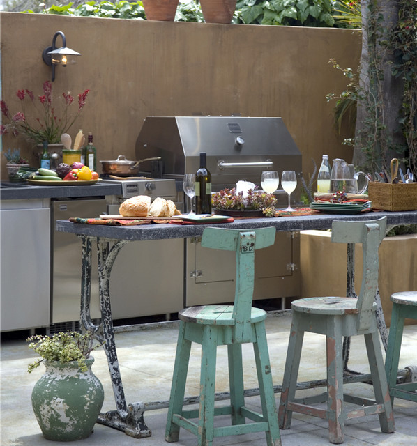 manhattan beach - outdoor kitchen eclectic kitchen