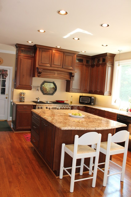 mantle hood, cherry kitchen remodel - transitional traditional-kitchen