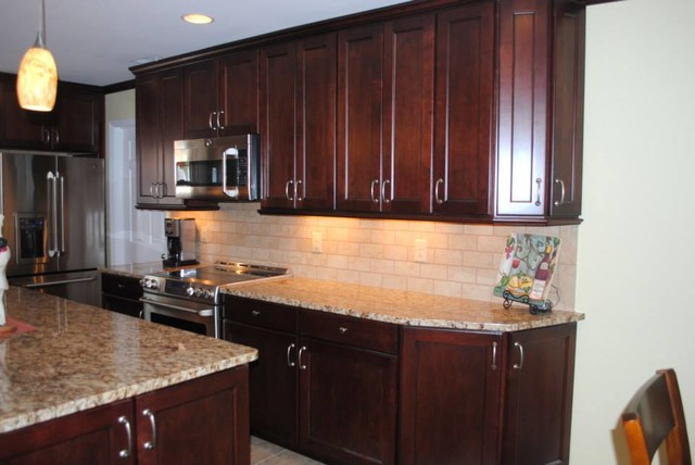 with Black Glaze Cabinets, Beige Subway Tile  Traditional  Kitchen