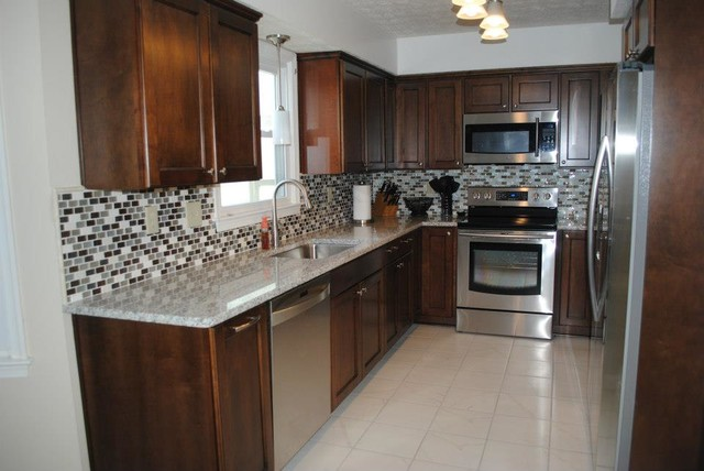 Elegant Maple Briarwood Cabinets With Black Glaze, Luna Pearl Granite  Traditional Kitchen