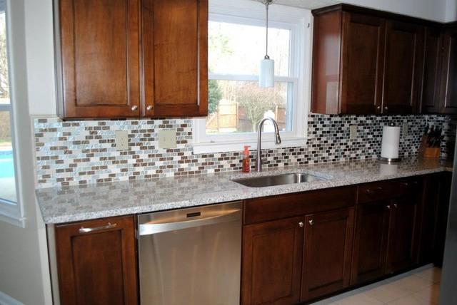 Maple Briarwood Cabinets With Black Glaze, Luna Pearl Granite  Traditional Kitchen
