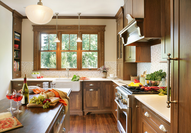 Beautiful Arts And Crafts Kitchen Photo In Huntington With Wood Countertops, A  Farmhouse Sink, Dark