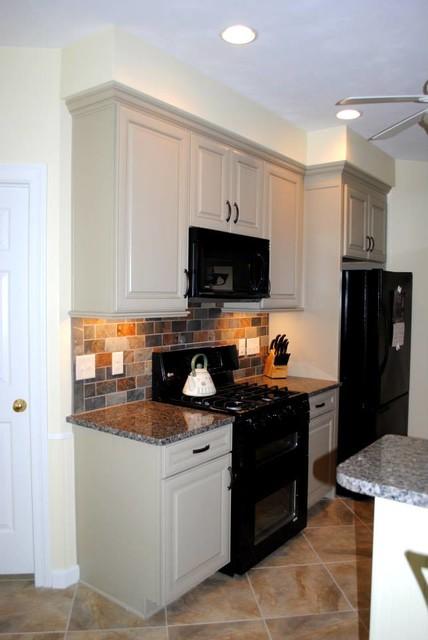 Maple Cabinets in Celadon Paint, Multicolored Slate Look Backsplash