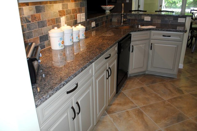 Maple Cabinets in Celadon Paint with Chocolate Glaze, Caledonia Granite - Traditional - Kitchen ...