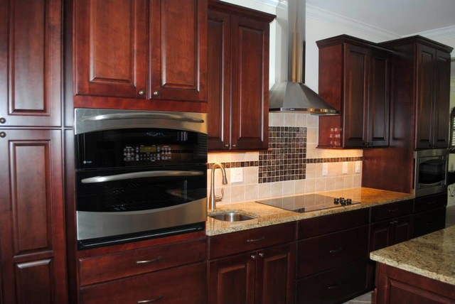 Maple Cabinets in Cranberry with Black Stain, Normandy Candlelight