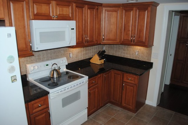 Maple Cabinets Tan Brown Granite Tile Backsplash Vinyl Floors Traditional Kitchen Other