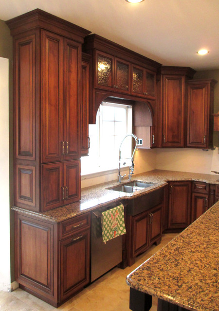 maple cabinets with cherry stain and mocha glaze - Cabinet Stain