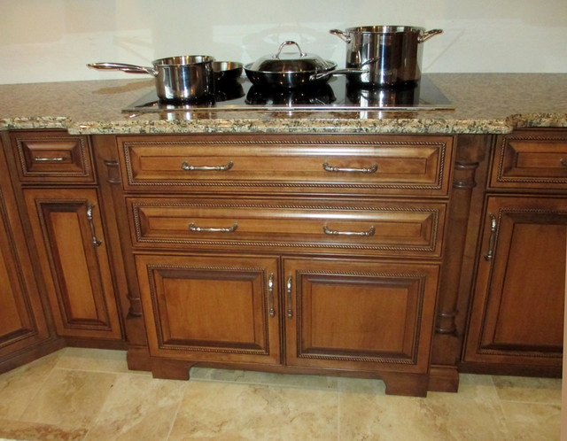 Maple Cabinets with Cherry Stain and Mocha Glaze traditional
