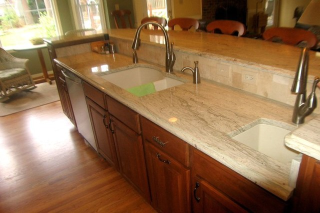 Maple Cherry Cabinets Ambrosia White Granite Tile Backsplash With Glass Accent American Traditional Kitchen Other By Hatchett Design Remodel