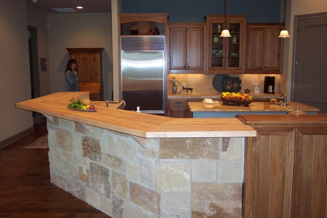 Maple Edge Grain Wood Bar Top Traditional Kitchen
