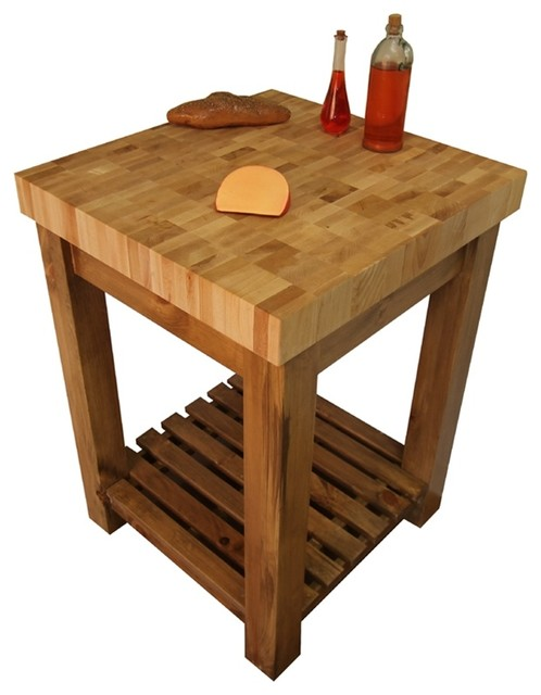 End Grain Butcher Block Kitchen Island : Maple End Grain Butcher Block Kitchen Island Cart with Country Pine Base craftsman-kitchen